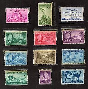 Scott-927-938-1945-Set-of-12-Commemoratives-MLH-F-VF-OG