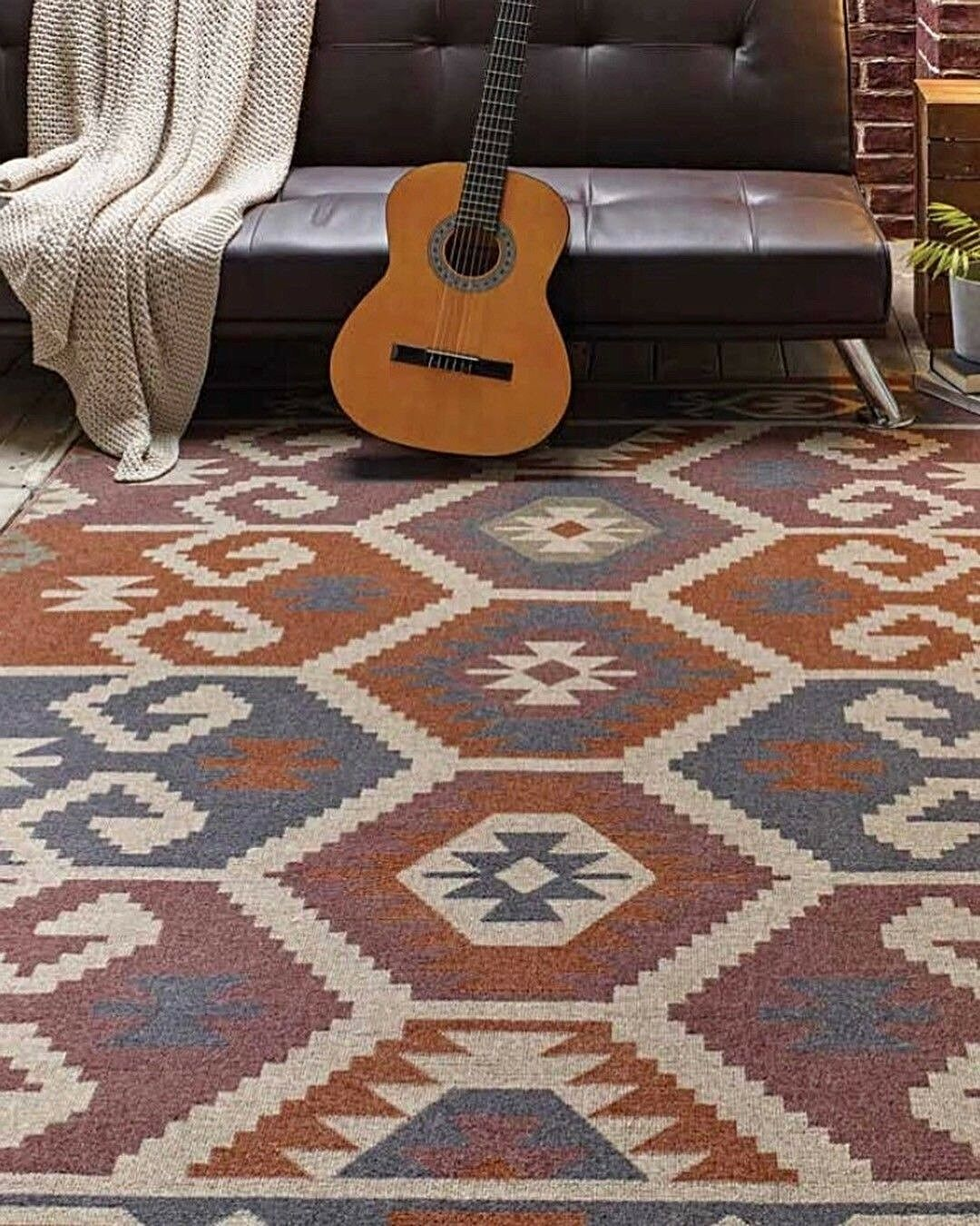 ORIGIN KALIM CONTEMPORARY BOHEMIAN STYLE WOOL MIX    RUG TERACOTTA  IN 4 GrößeS 173609
