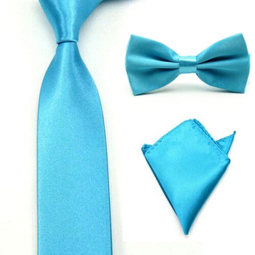 Men/'s Satin Bowtie Necktie Pocket Square Set Bow Tie Handkerchief Tie Lot
