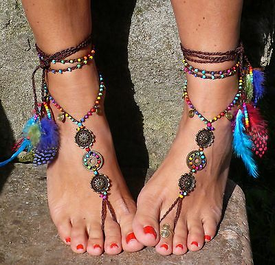 Rainbow MANDALA BAREFOOT SANDALS foot jewelry hippie sandals toe anklet beaded