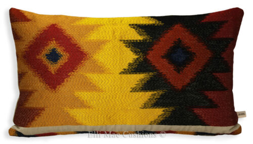 Lorca Luxe Createur Housse de coussin Navaho Ikat Brodé Rayure Or Rouge Bleu