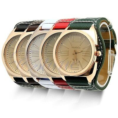 Women Lady Luxury Gold Stainless Steel Quartz Leather Unisex Fashion Wrist Watch