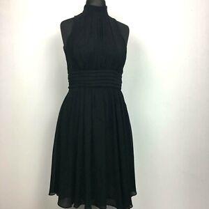 Zara Black Pleated Midi Dress UK M Sleeveless Chiffon Fit & Flare