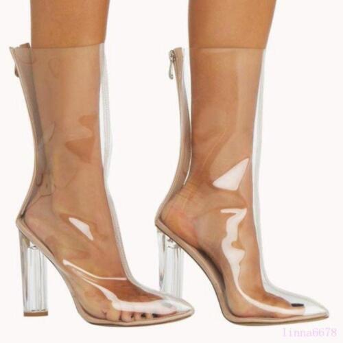 Fashion Women/'s Mid-Calf Boots Shoes Transparent Pointed Toe Block Heel Zipper