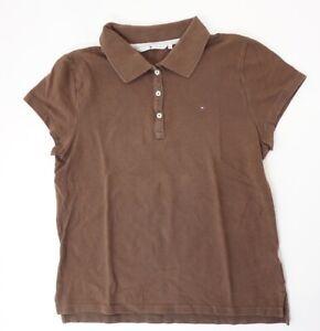 Tommy Hilfiger Poloshirt Polohemd Damen Gr.XL braun uni Knopf Piquè -S1307