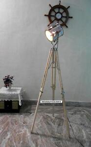 Vintage Spotlight Floor Lamp Wooden Tripod Chrome Finish
