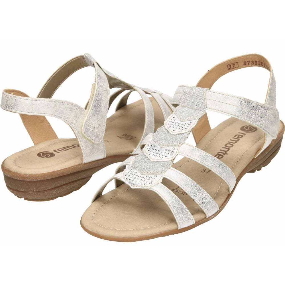 Remonte Strappy Flat Gladiator Glitter T Bar Sandales R3637 Braun Silver Gold