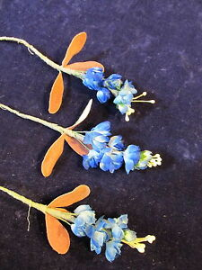 Vintage-Millinery-Flower-5-8-034-Rich-Blue-3-Pc-Lot-for-Hat-Wedding-Hair-NM6