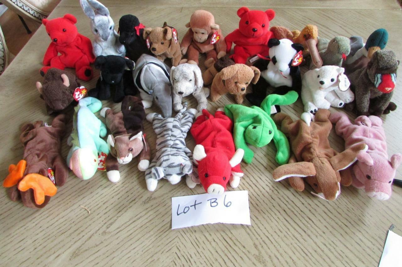 LOT OF 25  HARD TO FIND TY BEANIE BABIES  - EXC - LOT B6