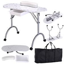 White Manicure Nail Table Portable Station Desk Spa Beauty Salon Equipment New