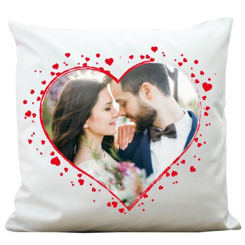 """DECO Coussin /""""cœur/"""" avec votre photo kp315 Mariage Amour Romantisme Paire mariage love"""
