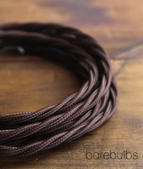 Twisted brown 3 core braided fabric lighting cable - retro vintage industrial -