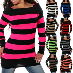 Das Bild wird geladen Damen-Strick-Pullover-Pulli-Sweater-Shirt-Longshirt- Tunika- 42c708390b