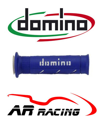 Domino XM2 Super Soft Motorcycle Grips (pair) in Blue & White
