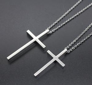 Silberkette-mit-Kreuzanhaenger-Kirche-kette-55cm-Edelstahl-fuer-Damen-Herren-S12
