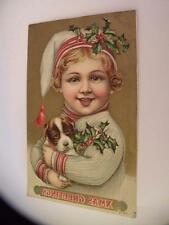 VINTAGE POSTCARD XMAS GREETING GIRL WITH DOG POSTED 1911