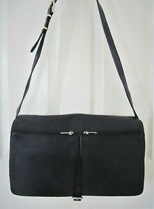 Vintage-ESPRIT-Black-Leather-Large-Shoulder-Bag-Cargo-Style-Purse-Like-NEW-Cond