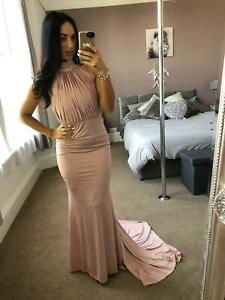 Quiz-Blush-Pleated-Bodice-Dress-Ball-Gown-Long-Fishtail-Maxi-Evening-Prom-UK