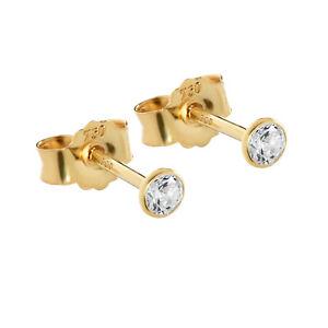 Paar 3mm Ohrstecker Gelbgold 750 Gold Ohrringe 18 Karat Zirkonia weiß kelch 2624