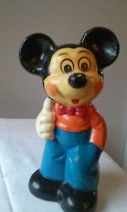 Set of 2 - Vintage 11 Mickey Mouse Chalkware Mexico Rare