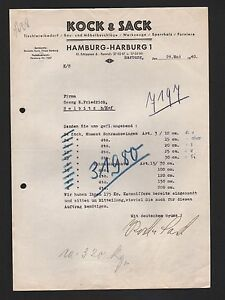 Hamburg Harburg Brief 1940 Kock Sack Tischlereibedarf Bau Möbel