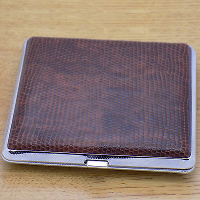 Classic Metal & Brown Leather Men Pocket Cigarette Tobacco Case Box Holder