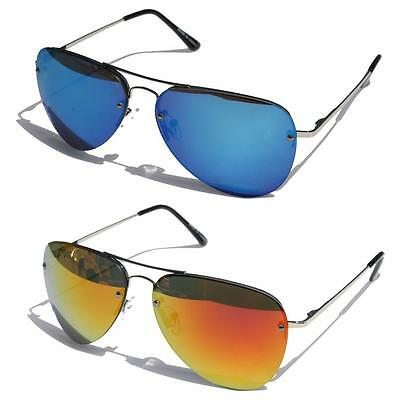 Mirror Rimless metal frame aviator sunglasses spring hinges classic shades blue