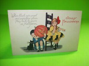 Halloween-Postcard-Stetcher-Antique-Girl-With-Black-Cat-Yellow-Dress-Series-1239