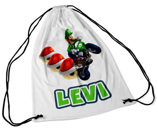 Personalised Drawstring Bag Any Name Luigi Design Swimming School Nursery PE 1