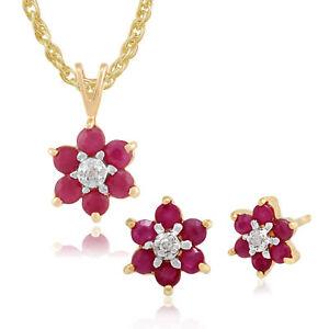 Gemondo-9ct-Gelbgold-Rubin-amp-Diamant-Floral-Ohrstecker-amp-45cm-Halskette-Set