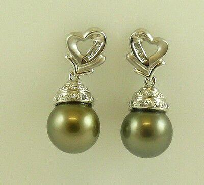 Tahititan Black 12.6 &12.8mm Pearl Earrings 18K White Gold With Diamonds 0.30 ct