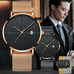 Trendy-Men-Ultra-Thin-Minimalist-Uhr-Slim-Steel-Strap-Edelstahl-Quarz