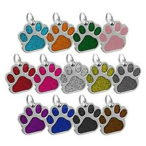 Colorful-Glitter-Paw-Dog-ID-Name-Tag-Disc-Personalised-Pet-Cat-Identity-Tags