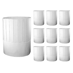 e7c7275737c6d White Disposable Paper 9 inch Tall Chef Hats Kitchen Cook Caps ...