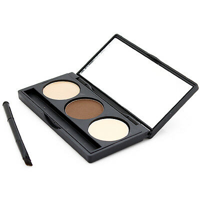 3Color Eyebrow Powder Eye Brow Palette Cosmetic Makeup Shading Kit Brush Mirror