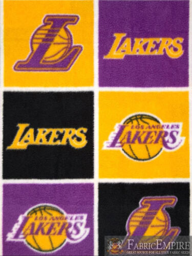 NBA Los Angeles LAKERS Block Edition Licensed Fleece Fabric Sold By The Yard
