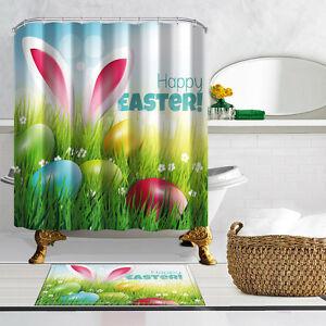 Happy Easter Shower Curtain Bathroom Decor Waterproof ...