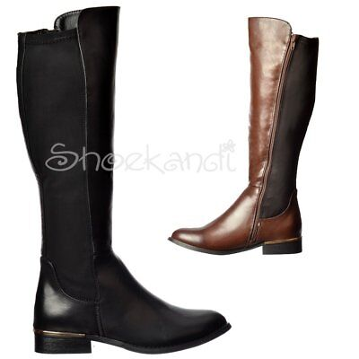 c0346cde2 Details about Womens Girls Extra Wide Calf Stretch Knee High Flat Riding  Boot Black Dark Brown