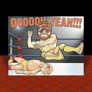 RANDY-034-MACHO-MAN-034-SAVAGE-vs-HULK-HOGAN-pro-wrestling-POSTER-ART-wwf-wwe-wcw-nwo