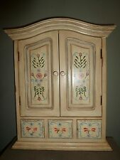 DISTRESSED WALL MOUNT CABINET DOORS & DRAWER CREAM COLOR 23 x 18 x 4 JACOBSENS