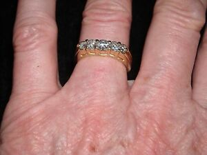 0678264a48a08 Details about 506 14k yellow gold 5 stone diamond band 5.75 grams 1 carat  H-I SI 2 size 6.25