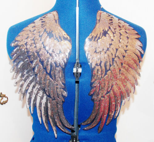 Silver Sequin wing embroidery patch lace applique motif dress dance costume