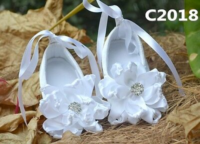 Toddlers kid Baby Christening Shower Gift Ballet White Lace Girl shoes gem 0-2ys
