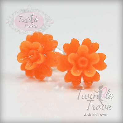 Vintage Tone Sakura Blossom Flower Rose Stud Earrings Bridesmaid Party Prom Gift