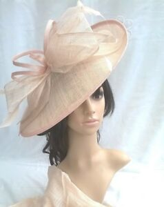 a01ad3accf120 Image is loading Nude-blush-Sinamay-Hatinator-hat-Large-shaped-saucer-