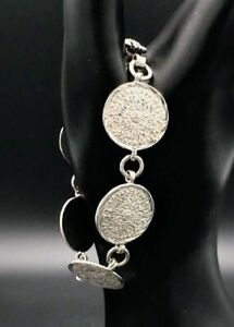 Vintage-Sterling-Silver-Aztec-Mayan-Disc-Bracelet-Sun-Calendar-Mexico-925