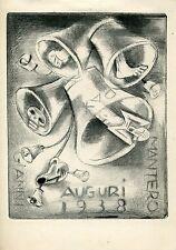 FINGESTEN, Auguri Mantero, 1938, Rare ! Puntasecca, Drypoint, Morte, Macabro