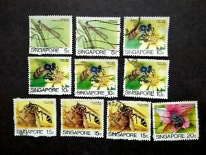 Singapore-1985-Insects-Loose-Set-Up-To-20c-Extra-10v-Used-9