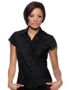 BLACK-LADIES-BAR-HOSPITALITY-SHIRT-KK795-CAP-SHORT-SLEEVE-WAITRESS-FEMALE-BLOUSE