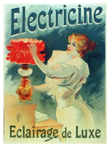 5085.Electricine.housewife tending to red lamp.POSTER.decor Home Office art